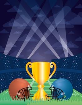 Superbowl sportillustration mit trophäenbecher und helmen