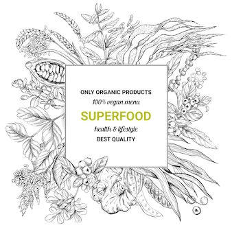 Superfood quadratischen rahmen banner,