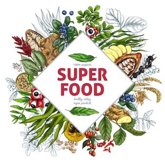 Superfood-rautenrahmenfahne, farbenreiche realistische skizze