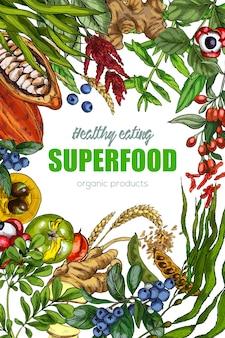 Superfood, realistisches skizzenrahmendesign