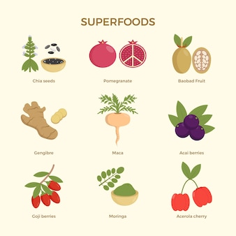 Superfood-sammlungskonzept