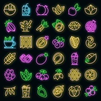 Superfood-symbole gesetzt. umrisse von superfood-vektorsymbolen neonfarbe auf schwarz