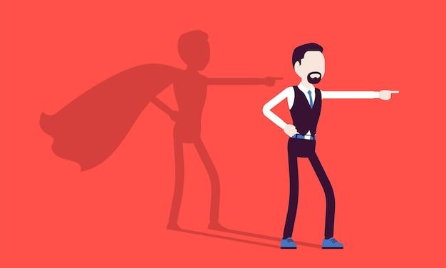 Supergeschäftsmann in heldenpose. erfolgreicher männlicher manager, bewundert für mut, herausragende geschäftliche leistungen, schatten wehender mantel, stolz, selbstzufriedenheit. vektorillustration, gesichtslose charaktere