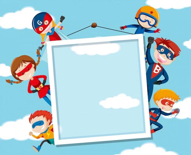 Superheld an auf himmelrahmen