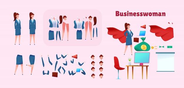 Superheld-animationsset der geschäftsfrau. junges mädchen im roten umhang verschiedene gesichtsgefühle, beine und arme position. cartoon weibliche manager kreationskit. büroangestellter.