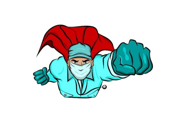 Superheld arzt mann im cartoon comic-buch-stil fliegen isoliert