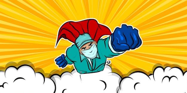 Superheld arzt mann im cartoon-comic-buch-stil fliegenden roten umhang