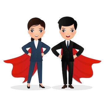 Superheld business dream team mann & frau, die in der machthaltung stehen. illustration lokalisiert auf weißem hintergrund.