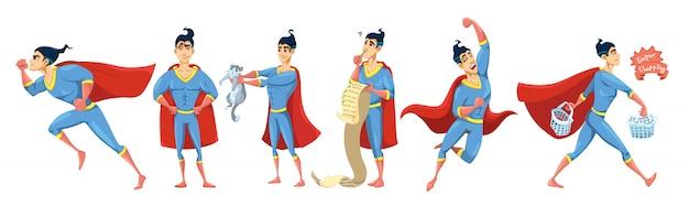 Superheld-charakter-illustrationssatz