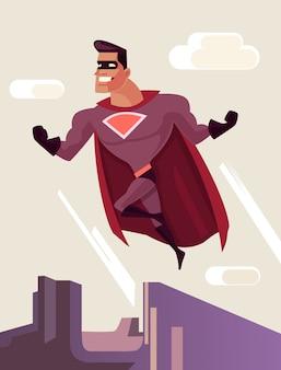 Superheld charakter springt vom dach.