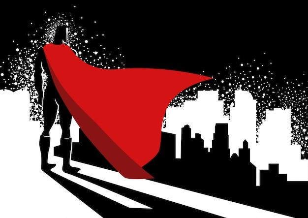 Superheld, der am rand des hohen gebäudes steht