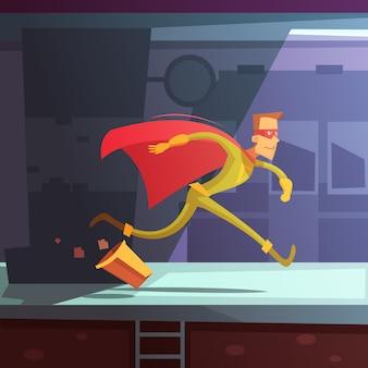 Superheld, der in die straße mit häusern und korbkarikaturvektorillustration läuft