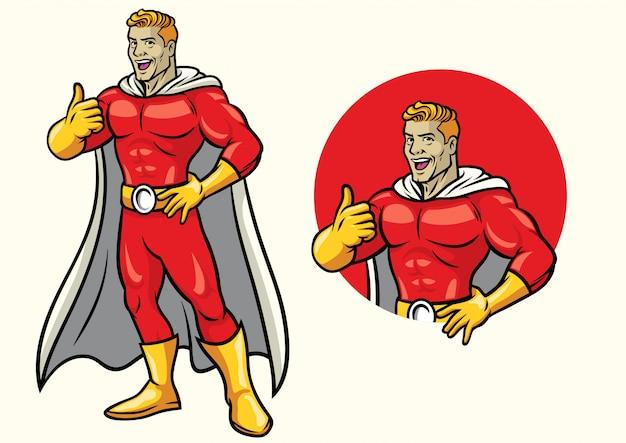 Superheld, der mit dem daumen oben im satz lächelt