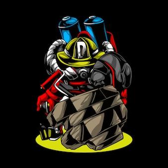 Superheld des feuerlöschroboters der zeichentrickfigur