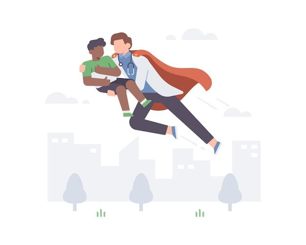 Superheld doktor tragen lesen umhänge, die junge junge schwarze kinder von coronavirus illustration konzept retten