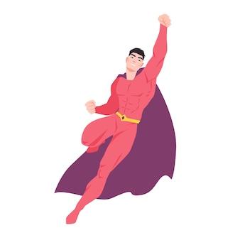 Superheld. fliegender mann mit muskulösem körper, der bodysuit und umhang trägt