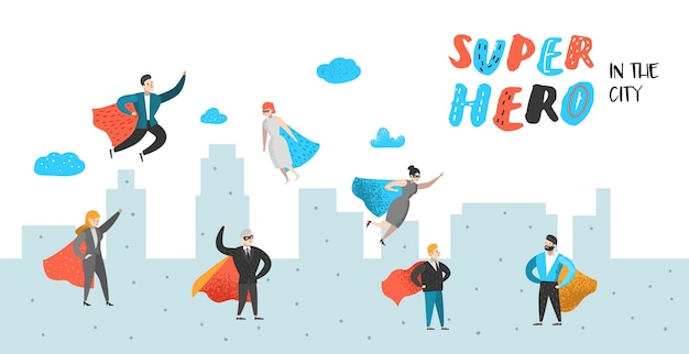 Superheld geschäftsleute charaktere poster