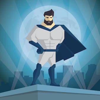 Superheld. held auf dem hintergrund der nachtstadt.
