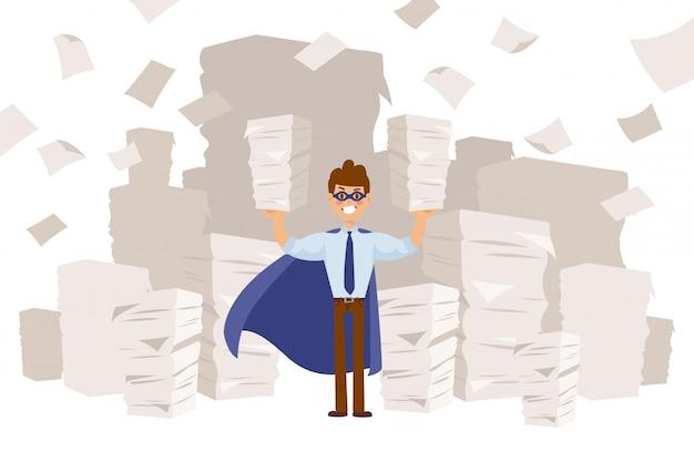 Superheld im langen umhang und in der maske, geschäftscharakterillustration. guy hält in den händen große papierstapel, dokumentationsarbeiten