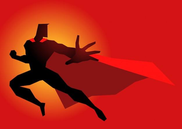 Superheld in aktion darstellen
