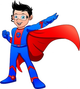 Superheld junge posiert