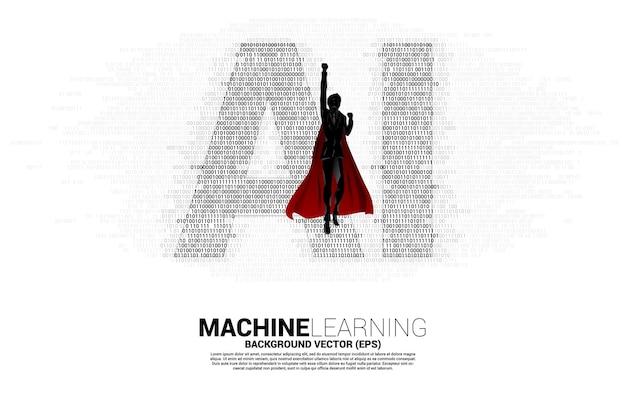 Superheld mit ki aus dem binärcode-matrix-stil eins und null. konzept des maschinellen lernens und der technologie der künstlichen intelligenz