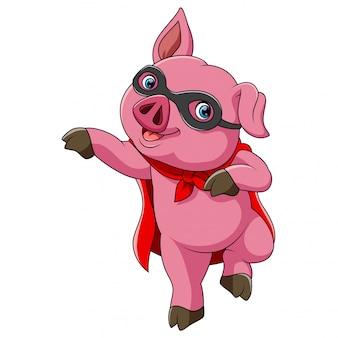 Superheld niedlichen schwein cartoon