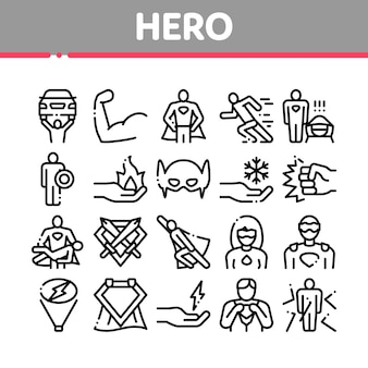 Superheld sammlung elemente icons set