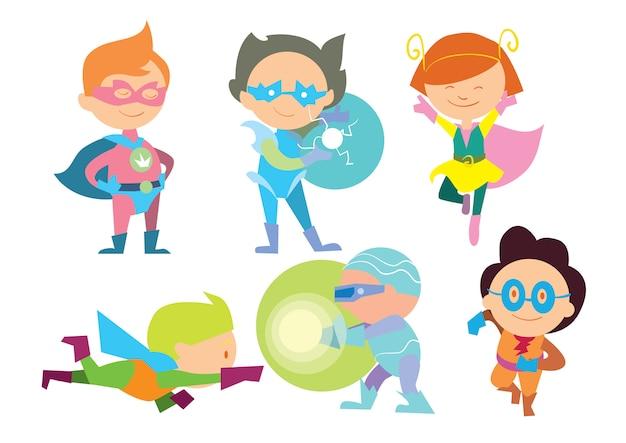 Superheld scherzt jungen- und mädchenkarikaturvektor