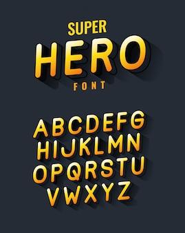 Superheld schriftart und alphabet design, typografie retro und comic thema illustration