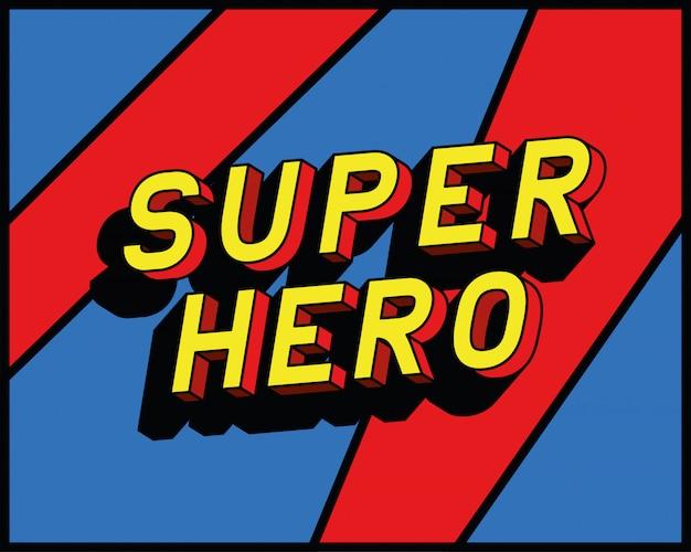 Superheld schriftzug design, typografie retro und comic-thema