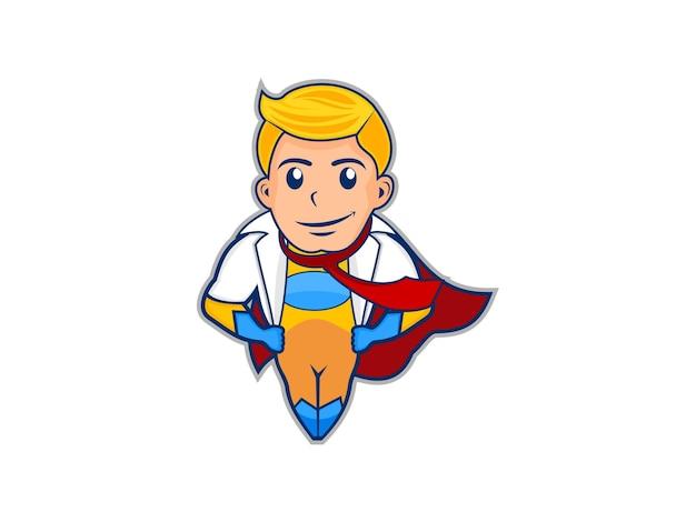 Superheld süßer cartoon Premium Vektoren