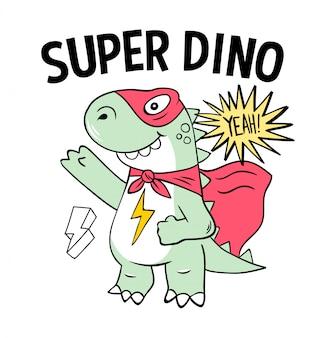 Superheld super dino eidechse t-rex in maske. moderne karikaturillustration des trendigen druckdesigns für kinderkindmädchen. modedruckdesign für t-shirt kleidung t-shirt färbung abzeichen patch aufkleber pin.