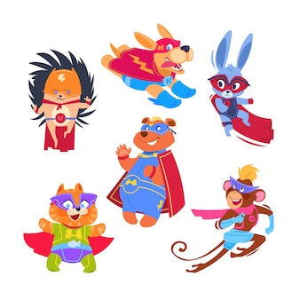 Superheld tier kinder. lustige tiere, die superheldkostüme tragen. cosplay vektor zeichen gesetzt