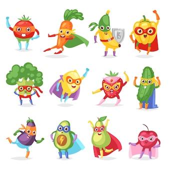 Superheld trägt fruchtige zeichentrickfigur des superhelden-ausdrucksgemüses mit lustiger bananen-karotte oder pfeffer in maskenillustration