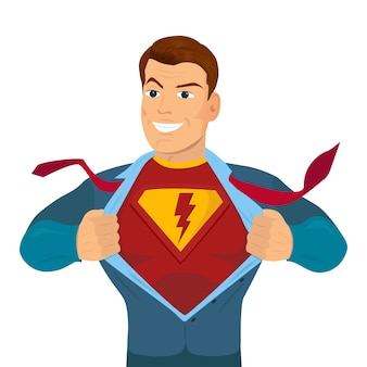 Superheld zerreißendes hemd und tragendes kostüm