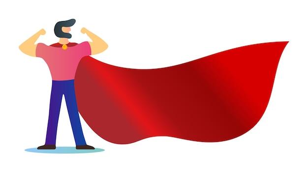 Superhelden bärtiger starker mann in der modernen flachen charakterdesignschablone des männlichen helden des roten umhangs