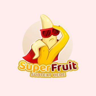 Superhelden-bananen-charakter-logo