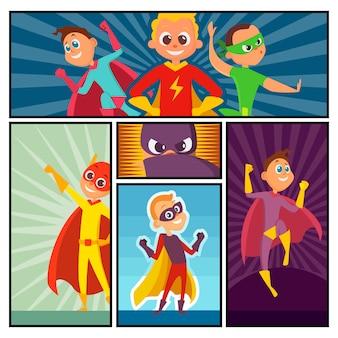 Superhelden banner. kinderheldenfiguren in aktion werfen comic-superpersonen farbiges cartoon-maskottchen auf