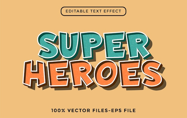 Superhelden - bearbeitbarer texteffekt des illustrators premium-vektor