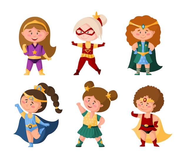 Superhelden-cartoon-mädchen in superkostümen, niedliche weibliche charaktere