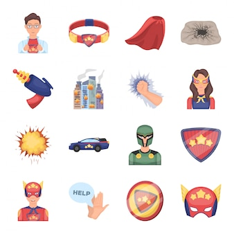 Superhelden-cartoon-set-symbol. comic . lokalisierter gesetzter ikonensuperheld der karikatur.
