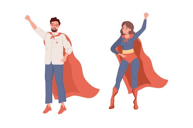 Superhelden. flacher superman und superwoman vektor
