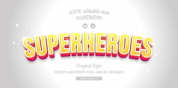 Superhelden gelben bearbeitbaren text mit verlaufsstil.
