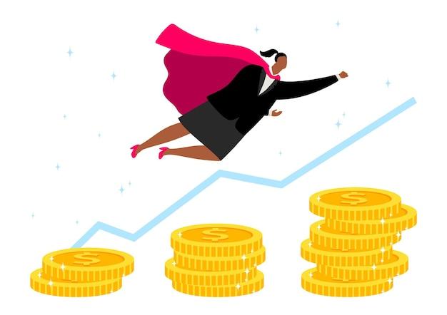 Superhelden-geschäftsfrau. weiblicher charakter im heldenmantel, afroamerikanisches mädchen, das über geld fliegt. motivationskonzept, karrierewachstumsvektorillustration