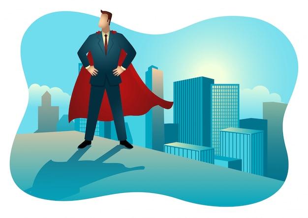Superhelden-geschäftsmann, der auf dem dach eines hohen gebäudes steht