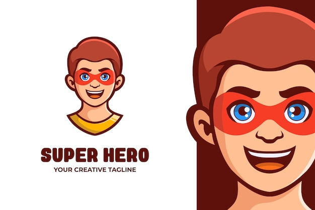 Superhelden-jungen-maskottchen-charakter-logo Premium Vektoren