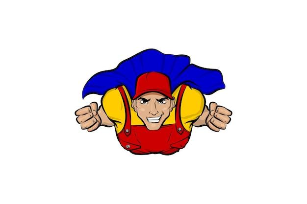 Superhelden-lieferung im visiermützen-mann-cartoon-comics-buchstil