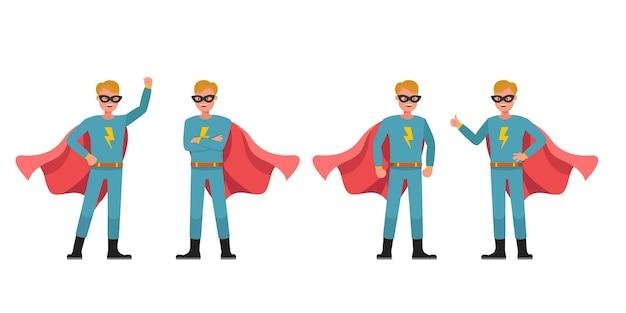 Superhelden-mann-charakter-vektor-design. präsentation in verschiedenen aktionen. nein2 Premium Vektoren