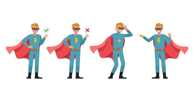 Superhelden-mann-charakter-vektor-design. präsentation in verschiedenen aktionen. nummer 4